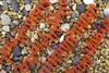 Strand of Sea Glass Tusk / Dagger Beads - Tangerine / Orange