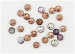 6mm Flat Lentils Czech Glass Beads - Etched Crystal Copper Rainbow