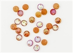 6mm Flat Lentils Czech Glass Beads - Etched Crystal Orange Rainbow