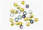 6mm Flat Lentils Czech Glass Beads - Etched Crystal Golden Rainbow