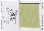 Purely Silk Beading Thread - Size D - Light Green
