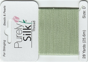 Purely Silk Beading Thread - Size D - Medium Green