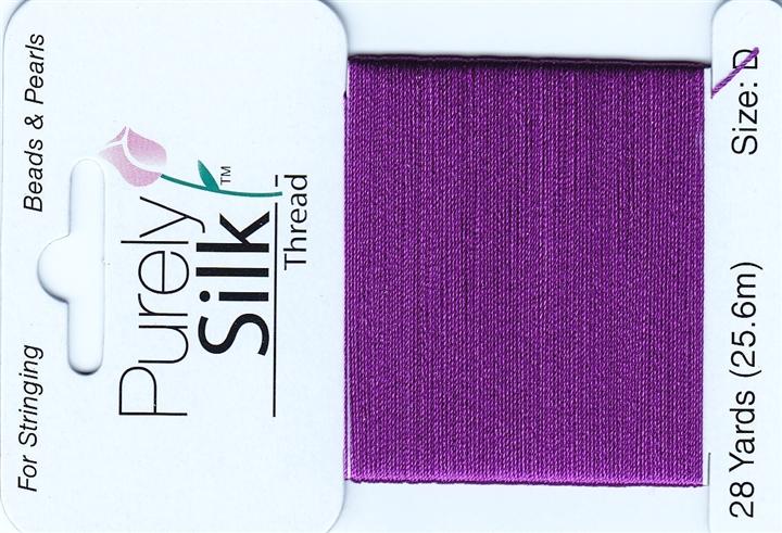 Purely Silk Beading Thread Size E Plum