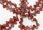6mm Two-Hole Czech Glass Silky Beads - Red Swirl Picasso