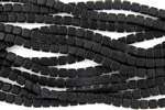 CzechMates 6mm Tiles Czech Glass Beads - Jet Black Matte Opaque T46