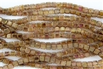 CzechMates 6mm Tiles Czech Glass Beads - Rose Gold Topaz Luster T51