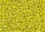 #0 Bugle 2mm Japanese Toho Glass Beads - Yellow / Lemon Silver Lined #32