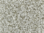 #1 Bugle 3mm Japanese Toho Glass Beads - Crystal Silver Lined Matte #21F