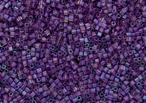 1.5mm Japanese Toho Cube Beads - Purple Lined Amethyst Transparent #928