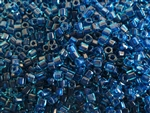 2mm Japanese Toho Cube Beads - Dark Blue Lined Aqua #932