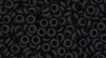 8/0 Demi Round Toho Japanese Seed Beads - Jet Black Opaque Matte #49F