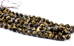 9mm Natural Tiger's Eye Faceted Nugget Beads