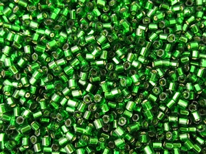 8/0 HEX Japanese Toho Seed Beads - Bright Green Silver Lined #27B