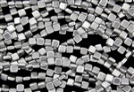 6mm Two-Hole Tiles Czech Glass Beads - Silver Metallic Matte