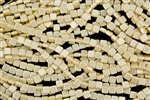 6mm Two-Hole Tiles Czech Glass Beads - Cream Pearl Coat