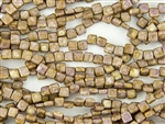 6mm Two-Hole Tiles Czech Glass Beads - Chalk Rose Picasso