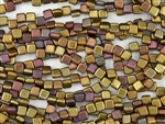 6mm Two-Hole Tiles Czech Glass Beads - Silky Rainbow Matte
