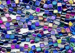 6mm Two-Hole Tiles Czech Glass Beads - Magic Blue Pink