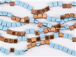 6mm Two-Hole Tiles Czech Glass Beads - Aqua Apollo