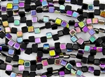 6mm Two-Hole Tiles Czech Glass Beads - Jet Vitral