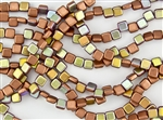 6mm Two-Hole Tiles Czech Glass Beads - Copper Metallic AB Matte