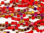 6mm Two-Hole Tiles Czech Glass Beads - Coral Red Sliperit