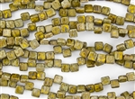 6mm Two-Hole Tiles Czech Glass Beads - Yellow Picasso