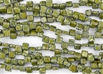 6mm Two-Hole Tiles Czech Glass Beads - Olive Picasso