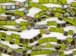 6mm Two-Hole Tiles Czech Glass Beads - Opaque Olive Celsian