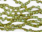 6mm Two-Hole Tiles Czech Glass Beads - Blue Turquoise Picasso