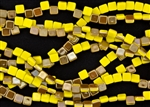 6mm Two-Hole Tiles Czech Glass Beads - Opaque Yellow Celsian