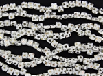 6mm Two-Hole Tiles Czech Glass Beads - White Peacock
