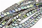 6mm Two-Hole Tiles Czech Glass Beads - Crystal Graphite Rainbow