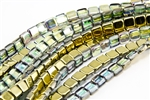 6mm Two-Hole Tiles Czech Glass Beads - Crystal Golden Rainbow