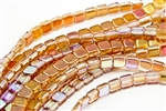 6mm Two-Hole Tiles Czech Glass Beads - Crystal Orange Rainbow
