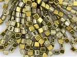 6mm Two-Hole Tiles Czech Glass Beads - Crystal Aurum