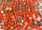 6mm Two-Hole Tiles Czech Glass Beads - Orange Apollo