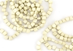 6mm Two-Hole Tiles Czech Glass Beads - Opaque Ivory Marbled Metallic