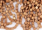 6mm Two-Hole Tiles Czech Glass Beads - Peach Gold Luster
