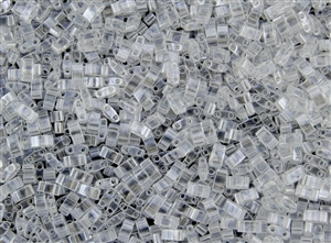 Miyuki Half Tila Bricks 2.5x5mm Glass Beads - Transparent Crystal Luster #TLH160