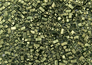 Miyuki Half Tila Bricks 2.5x5mm Glass Beads - Transparent Olive Green Gold Luster #TLH306
