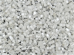 Miyuki Half Tila Bricks 2.5x5mm Glass Beads - Opaque White Ceylon Pearl #TLH420
