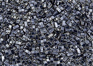 Miyuki Half Tila Bricks 2.5x5mm Glass Beads - Gunmetal Metallic #TLH464