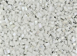 Miyuki Half Tila Bricks 2.5x5mm Glass Beads - Opaque White Pearl AB #TLH471