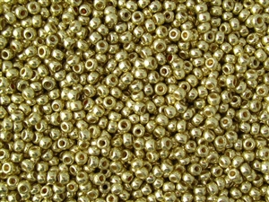 6/0 Toho Japanese Seed Beads - PermaFinish Yellow Gold Metallic #PF559