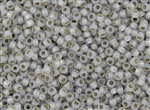 8/0 Toho Japanese Seed Beads - Permanent Finish Grey Opal Silver Lined #PF2101