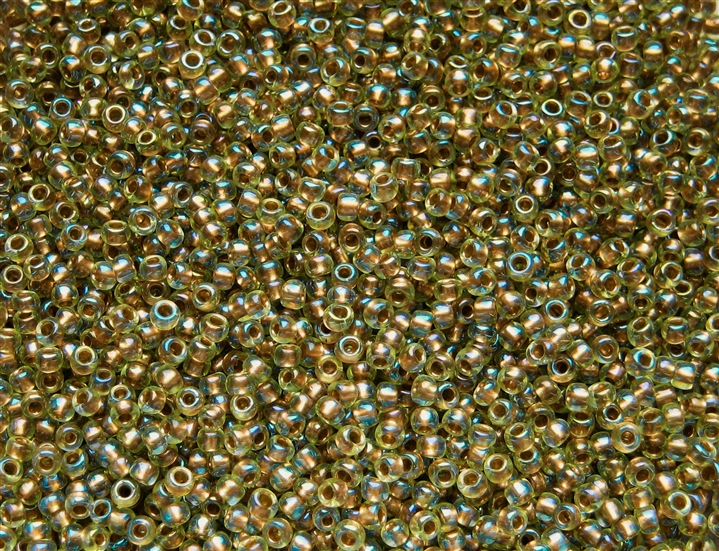 110  #1829 Inside-Color Rainbow JONQUILForest GREEN Lined green Toho Seed Bead TR-11-1829