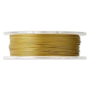 30FT - Tigertail Beading Wire - Nylon-Coated Stainless Steel - GOLD - 0.022""