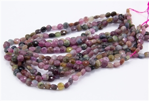 4x2.5mm Natural Tourmaline Gemstone Faceted Coin Beads