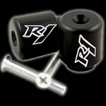 engraved r1 bar ends black